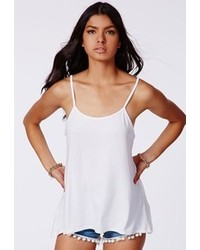 Missguided Remela White Jersey Cami Swing Top