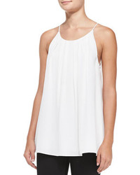 Milly Pleated Stretch Silk Tank