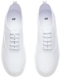 H\u0026M Canvas Sneakers White, $17 | H \u0026 M