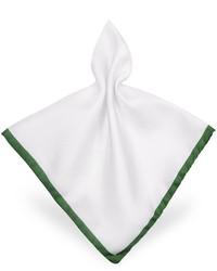 Forzieri Framed Solid White Silk Pocket Square