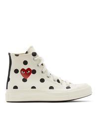 Comme Des Garcons Play White Converse Edition Polka Dot Heart Chuck 70 High Sneakers