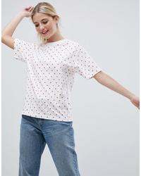 Monki Oversized Polka Dot T Shirt In White