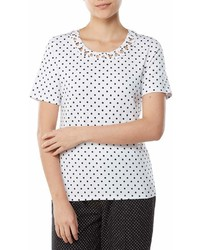 Allison Daley Petite Size Soutache Trim Crew Neck Polka Dot Tee