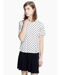 Mango Outlet Pleated Polka Dot T Shirt