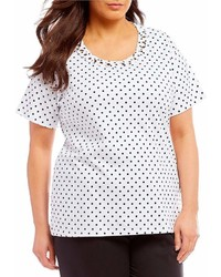 Allison Daley Plus Soutache Trim Crew Neck Polka Dot Tee