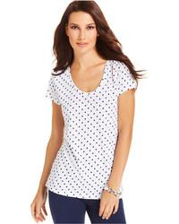 Style&co. Sport Short Sleeve Polka Dot Tee