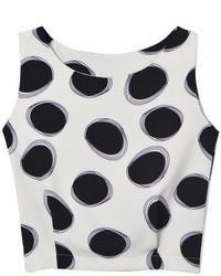 Choies white polka dot cropped vest medium 69703