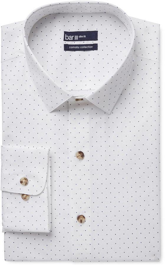 b9ea3d59e $65, Bar III Carnaby Collection Slim Fit White Navy Polka Dot Print Dress  Shirt Only At Macys