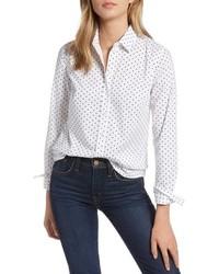 1901 Polka Dot Stretch Cotton Blend Shirt