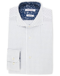 White navy polka dot slim fit dress shirt medium 6860875