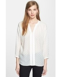 White Polka Dot Long Sleeve Blouse