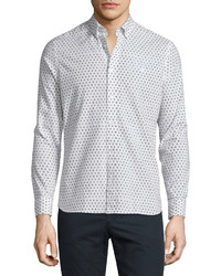 Burberry Brit Abstract Dot Print Long Sleeve Sport Shirt White