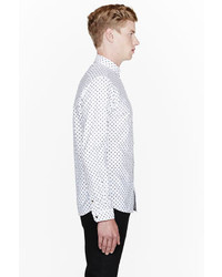 Paul Smith Jeans White Polka Dot Tailored Dress Shirt
