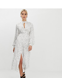 Asos Tall Asos Design Tall High Neck Twist Front 70s Sleeve Maxi Dress In Spot