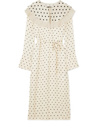 Mother of Pearl Lenox Pleated Polka Dot Satin Midi Dress