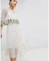 ASOS DESIGN Midi Dress With Floral Ruffles And All Over Embellished Spot