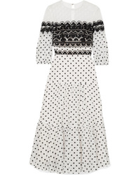 Temperley London Prix Embroidered Tulle And Polka Dot Tte Midi Dress