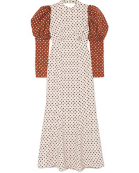 Rejina Pyo Sibylle Draped Two Tone Polka Dot Crepe Midi Dress
