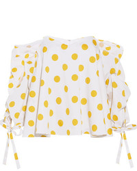 Gabriella off the shoulder polka dot cotton top white medium 5083771