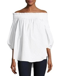 Caroline Constas Lou Off The Shoulder Dotted Poplin Top