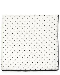 Neiman Marcus Polka Dot Silk Pocket Square Whiteblack