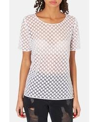 White Polka Dot Short Sleeve Blouse