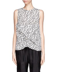Nobrand Polka Dot Silk Drape Top