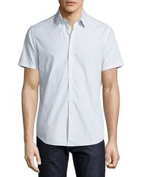 Theory Sylvain Corvalle Pin Dot Short Sleeve Sport Shirt White