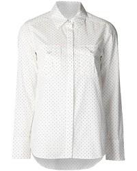White Polka Dot Silk Dress Shirt