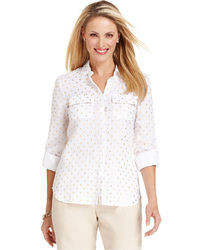 Charter Club Three Quarter Sleeve Polka Dot Linen Shirt