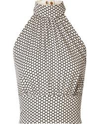 Diane von Furstenberg Polka Dot Stretch Silk Halterneck Top