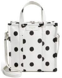 Balenciaga Small Polka Dot Bazar Silk Shopper White