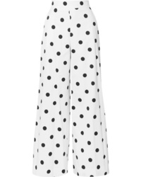 Oscar de la Renta Polka Dot Cotton Twill Wide Leg Pants