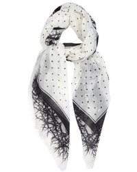 Haider Ackermann Dades Thorn And Dot Print Wool Voile Scarf