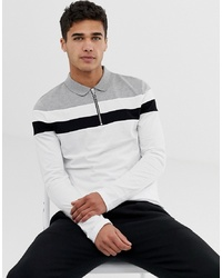 ASOS DESIGN Long Sleeve Polo Shirt With Zip Neck And Body And Sleeve Colour Block In White