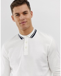 Jack & Jones Premium Long Sleeve Polo Shirt With Collar Tipping In Waffle Texture Cotton