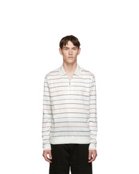 Paul Smith White Stripe Zip Long Sleeve Polo