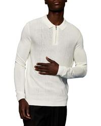 Topman Zigzag Knit Long Sleeve Polo