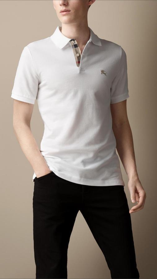 6cf0a3e0ca88 Burberry Check Placket Polo Shirt, $175 | Burberry | Lookastic.com