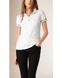 Burberry Check Trim Stretch Cotton Piqu Polo Shirt