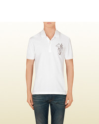 Gucci Cotton Polo With Horse Embroidery