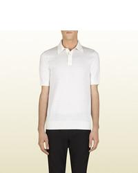 Gucci White Fine Cashmere And Silk Polo