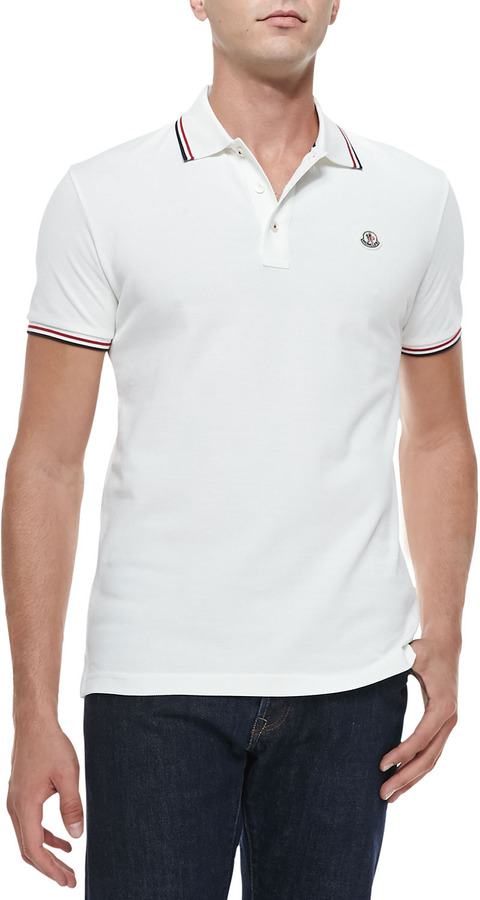 ... Moncler Moncler Short-Sleeve Tape-Tipped Polo, Ivory