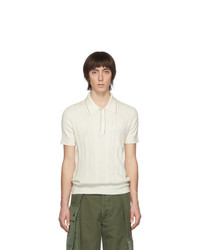 Wales Bonner Off White Textured Knit Polo