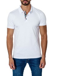 Jared Lang Short Sleeve Cotton Blend Polo Shirt White