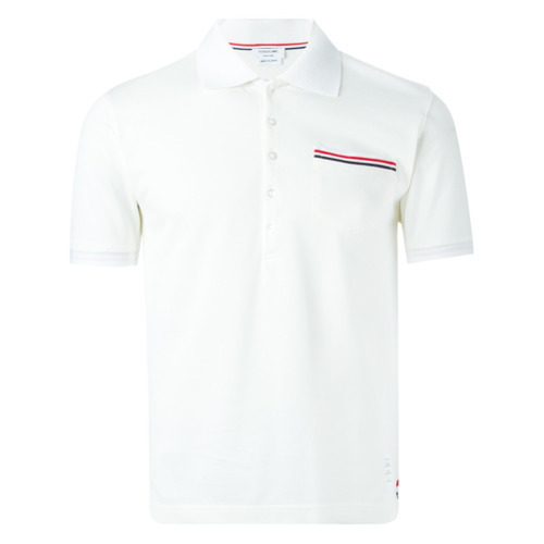 59afcb1db Thom Browne Short Sleeve Polo Shirt In White Cotton Pique, $363 ...