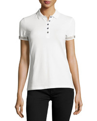 Slim fit polo shirt with check trim white medium 594041