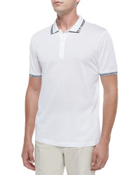 Tape tipped short sleeve polo white medium 605670