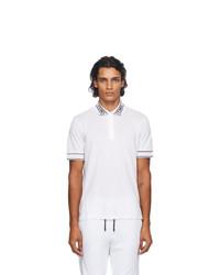 Fendi White Logo Collar Polo