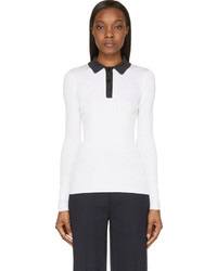 Proenza Schouler White Silk Contrast Collar Long Sleeve Polo